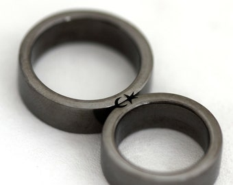 Black silver ring set, Star  moon rings, Antique silver band set, Black wedding ring set, Matching ring set for men, Promise ring, Love ring