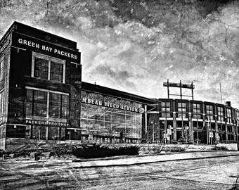 Frozen Tundra, Black & White, Lambeau Field, Green Bay Packers, Large Wall Art Print, Home Decor, Man Cave, Packers Print, Packers Decor