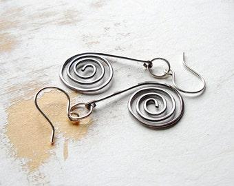 Copper and Silver Earrings, Mixed Metal Jewelry, Spiral Earrings, Handmade Copper Jewellery, Geometric Earrings, Kinetic Jewelry