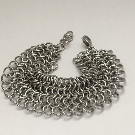 Classic European chainmaile cuff bracelet: casual, tough, unisex