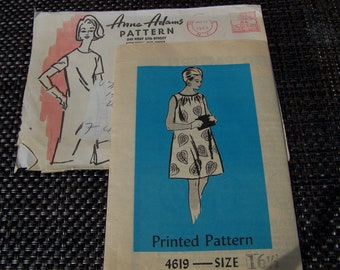 """Vintage 60's """"ANNE ADAMS PATTERN 4619"""" Size 16 1/2 Printed Bust 34"""