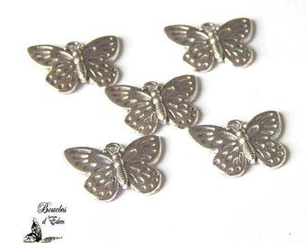 Color 25x18mm silver Butterfly charms
