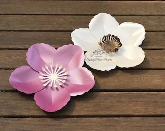 BUTTERCUP Paper Flower Template & Tutorial manual/svg pdf CriCut Silhouette Cameo DIY paper flower pattern/Paper flower centre download file