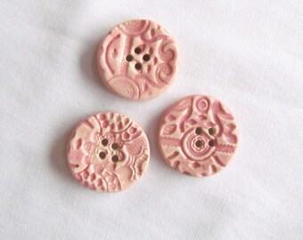 Round Pink Textured Pottery Button Set