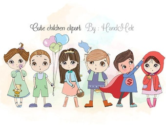 Cute Children clipart ,cute boy and girl clipart set , instant download PNG file - 300 dpi
