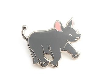 Black Rhino Enamel Pin (black rhino pin hard enamel pin lapel pin badge jewelry cute rhino jewelry rhinoceros pin cloisonne backpack pins)