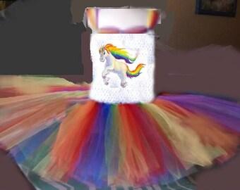 Birthday Rainbow Pony Tutu Dress Costume Girl Halloween