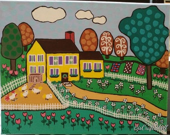 Yellow Country House Folk Art Painting 11x14