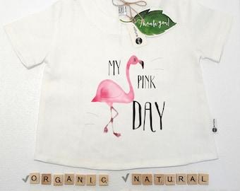 Flamingo linens, bird shirt, flamingo kid shirt, flamingo kids, linen kids clothes, linen baby clothes, organic baby clothes, organic baby