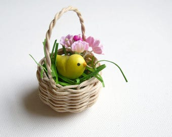Miniature Easter Basket, Baby Chick, Favorite Peep,  Easter ornament