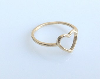 gold filled ring, heart ring,knuckle ring, gold ring, love ring, small gold ring, thin rings, A603 ,