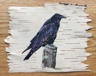 Raven Hand Painted on Birch Bark, Framed