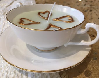 4 Heart Teacup Candle