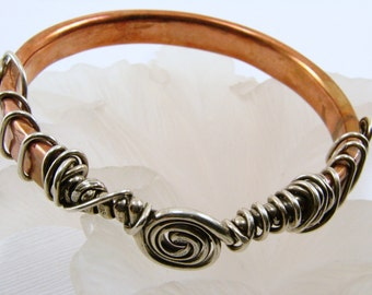 Copper and Sterling Silver Bangle - As seen in the GBK 2014 Golden Globes Celebrity Gift Lounge