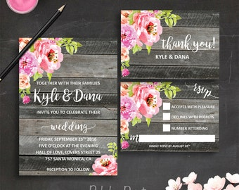 Rustic Wedding Invitation Country Wedding Invitation Barn Wedding Invitation Floral Wedding Invitation Garden Wedding Invitation Printable