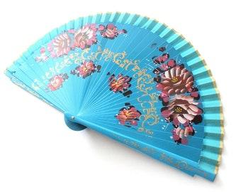 Hand Fans, hand fan, abanico,  turquoise-flowered