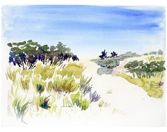 Beach Watercolor Print- Blue Sky, Green Grasses, Sand Dune- 9x12- Horizontal
