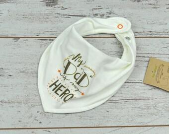 Daddy Hero Bandana Bib, Baby Bandana Bib, Toddler Bandana, Organic Baby Gift, Baby Drool Bandana, Fashion Bib, Dribble Bib, Trendy Baby Bib