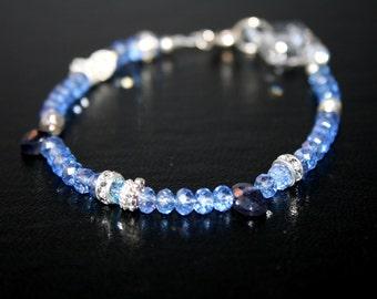 SOCHI Iolite, Swarovski Crystal and Sterling Bracelet