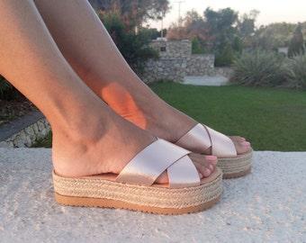 Espadrille Sandals, Leather espadrille, Platforms , leather sandals, espadrilles