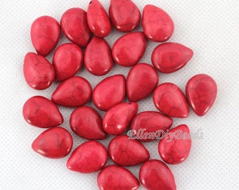 60 pcs Red Teardrop Turquoise Beads,One Full Strand,High Quality Turquoise Beads,Gemstone Beads---13*18mm---BT059