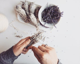 Amethyst Sage Smudge Stick kit//Ritual Kit//Wild turkey feather//Amethyst crystal// Housewarming Gift/Stress and Anxiety relief/New moon kit