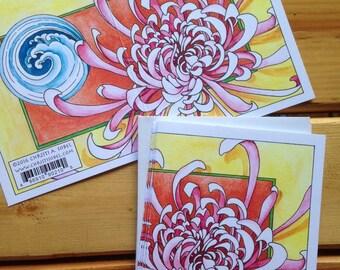 6 Chrysanthemum blank cards