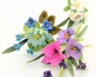 3 Shining Bouquets Handmade Miniature Polymer Clay Art Flowers for Dollhouse and Wedding Gifts