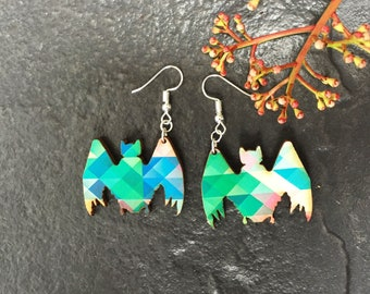 Colourful bat shaped wooden Earrings