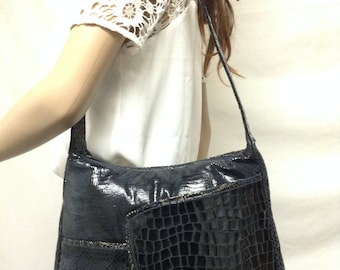 Pinky,Leather Purse, Blue ,Shoulder Bag ,Reptile Croc Embossed,purses,bags