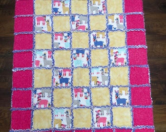 Whimsical Llama Rag Quilt Baby Blanket 36x48 Inches Cozy Flannel