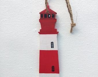 Lighthouse Ornament - Lighthouse Christmas Ornament - Red and White Lighthouse Ornament - Lighthouse Decor - Lighthouse Gift - Beach Gift
