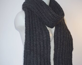 Knit scarf, long knit scarf, knit shawl, womens fashion accessory, chunky Knit scarf in black, cozy softness, knit scarves