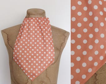 1970's Coral Polka Dot Polyester Dickey Men's Scarf by Maeberry Vintage