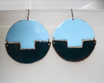 Teal and deep seagreen circle earrings, torch fired enamel on #copper