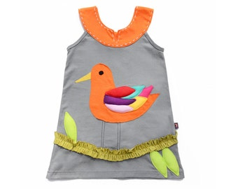 Girl's Dress, BIRD Dress, Applique Dress, Bird Clothing, Handmade Clothing, Applique Clothing, Gray Dress, Animal Clothing, Orange Dress