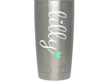 Yeti Cup Decal, Monogram Decal, Name Decal, Preppy, name and heart, RTIC Cup Sticker, Tumbler, Personalized Monogram Decal, name decal