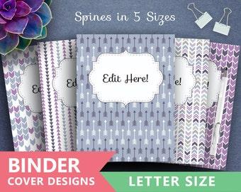 "Binder Cover Printable: ""PURPLE BLUE ARROWS"" Print Binder 5x set Covers + Spines Teacher Binder insert, tribal archery triangles backgrounds"