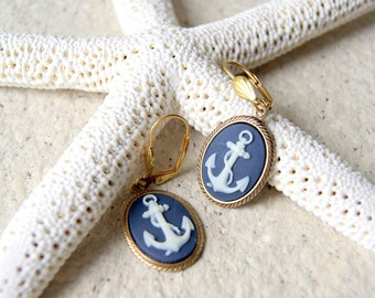 Anchor Earring - navy blue and ivory cameo anchor charms