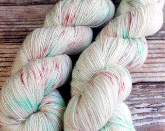 Brillante - Christmas Speckles - Hand Dyed Yarn - 75/20/5 Superwash Merino/Nylon/Stellina