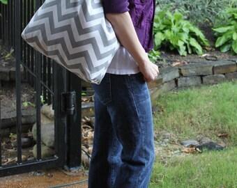LARGE gray and white CHEVRON stripe zigzag Handbag/ Diaper Bag/ Purse/ Tote/ Beach Bag