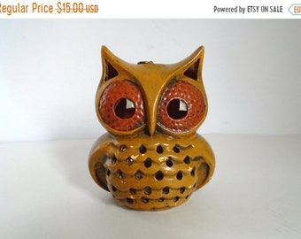 Sale - Vintage 1970's Hand Painted Ceramic Owl Luminary