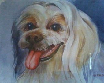 Beautiful watercolor dog portrait
