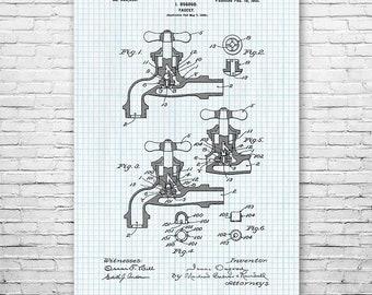 Water Faucet Poster Art Print, Plumber Gift, Plumbing, Patent Art, Patent Print, Patent Poster, Wall Art, Home Decor, Vintage Art