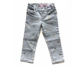 Girls Painted Jeans, Girls Skinny Jeans, Girls Star Jeans, Hand Painted Jeans, Girls Denim, Girls Jeans, Painted Denim, Baby Skinny Jeans