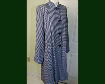 Vintage 1940's Blue & White Checkered Asian Style Jacket