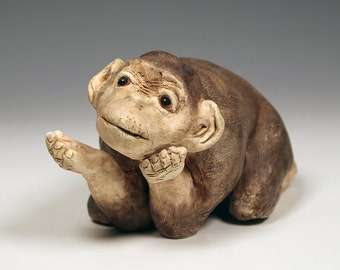 Ceramic Baby Chimp sculpture, cute and playful, one of a kind, taupe and brown ceramic chimp, original art