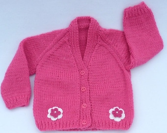 Hand knitted baby clothes. Knit baby cardigan. Baby sweaterto fit 3 to 6 months. baby girl clothes, baby shower gift, baby girl gift