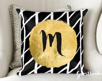 Initial Pillow - Custom Pillow - Personalized Pillow - Modern Pillow - Black White Gold Pillow - Black and White Pillow - Monogram Pillow