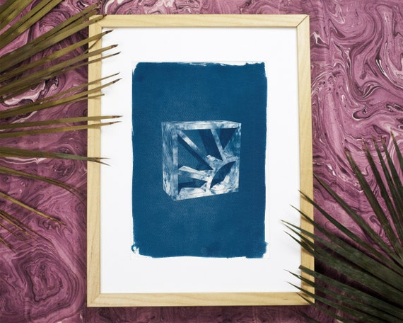 Trendy 3d Screen Block Brick, Cyanotype Tile Print on Watercolor Paper, A4 size (Limited Edition)